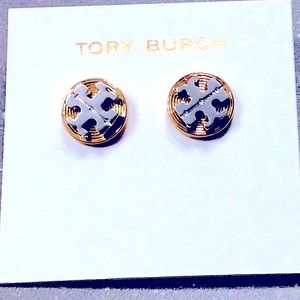 Tory Burch silver and gold logo studs